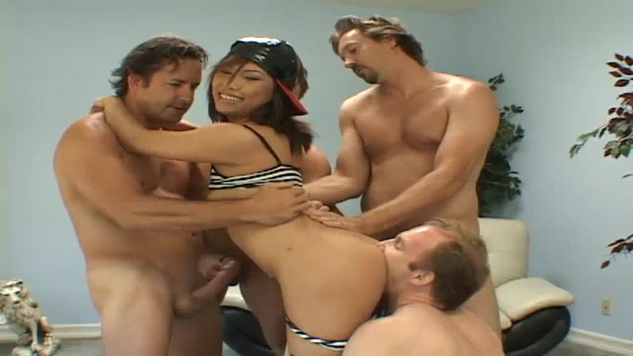 Group sex scene with facial load